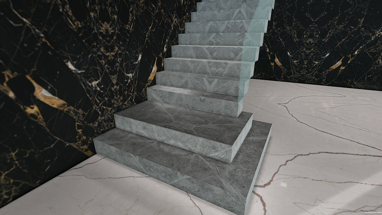 نمونه ای ایدآل در خصوص استفاده از سنگ های مرمر در تزئینات مینیمالیستی داخلی ساختمان مانند سنگ دیوار پوش ، سنگ کف و پله